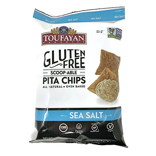 Toufayan  글루텐 프리 All Natural 채식 비건 Baked Pita Chips 6 Ounce 백s 세트 of 2 Sea Salt