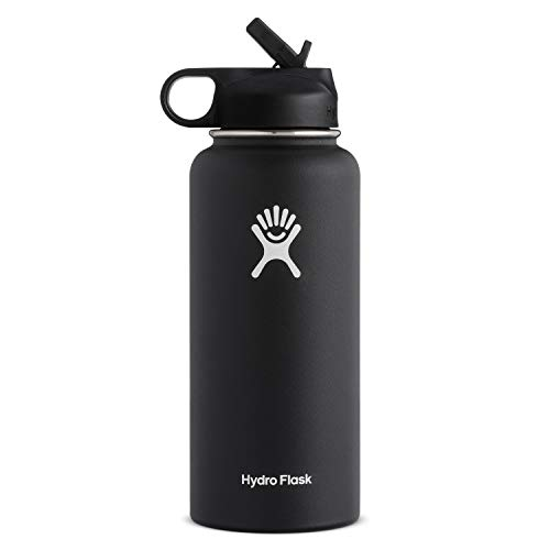Hydro Flask Wide Mouth Water Bottle Straw Lid  Multiple 사이즈s amp Colors 블랙