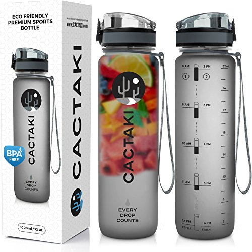 Cactaki Water Bottle with Time Marker Large BPA 프리 Water Bottle NonToxic 1 Liter 32 Oz for Fitness and Outdoor Enthusiasts Leakproof and Durable Grey